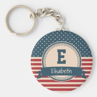 American stars stripes flag monogram name keychain