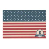 American stars stripes patriotic flag monogram placemat