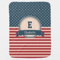 American stars stripes patriotic monogram name swaddle blanket