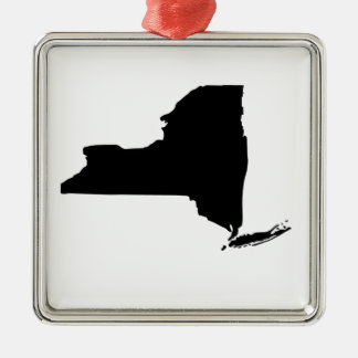 American State of New York Square Metal Christmas Ornament