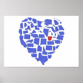 American States Heart Mosaic Arkansas Blue Poster