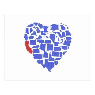American States Heart Mosaic California Blue Postcard