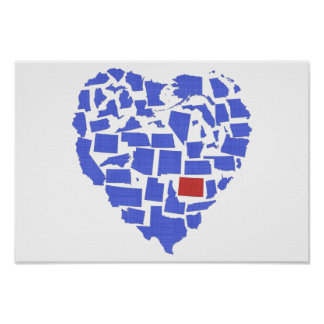American States Heart Mosaic Colorado Blue Poster