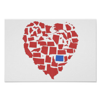 American States Heart Mosaic Colorado Red Poster