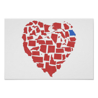 American States Heart Mosaic Georgia Red Poster