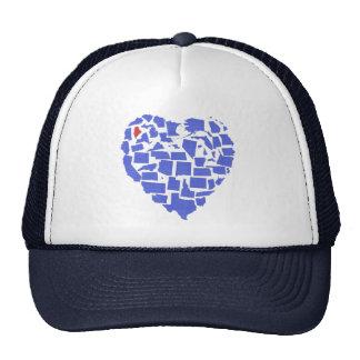 American States Heart Mosaic Maine Blue Trucker Hat