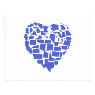 American States Heart Mosaic Massachusetts Blue Postcard