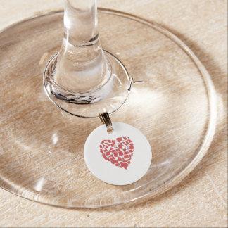 American States Heart Mosaic Massachusetts Red Wine Glass Charm