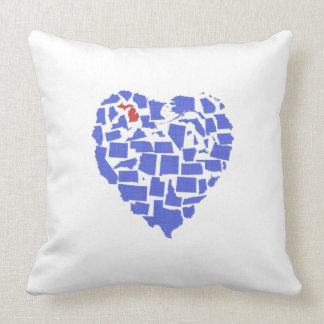 American States Heart Mosaic Michigan Blue Throw Pillow