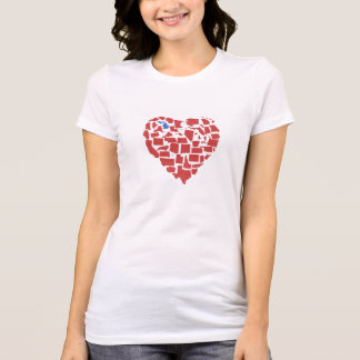 American States Heart Mosaic Michigan Red T-Shirt