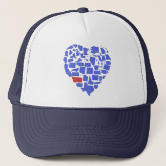 American States Heart Mosaic Montana Blue Trucker Hat