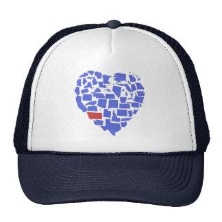 American States Heart Mosaic Montana Blue Trucker Hat