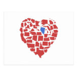 American States Heart Mosaic Nevada Red Postcard