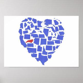 American States Heart Mosaic North Carolina Blue Poster