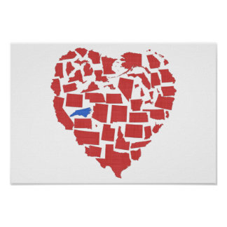American States Heart Mosaic North Carolina Red Poster