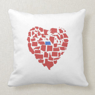 American States Heart Mosaic North Dakota Red Throw Pillow