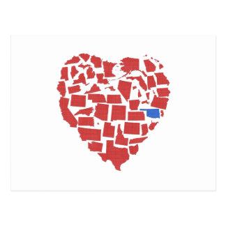 American States Heart Mosaic Oklahoma Red Postcard