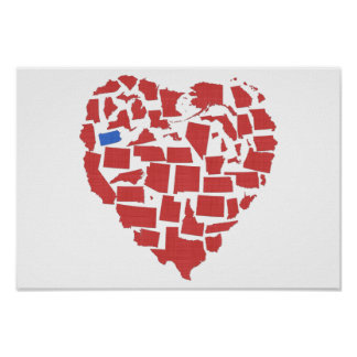 American States Heart Mosaic Pennsylvania Red Poster