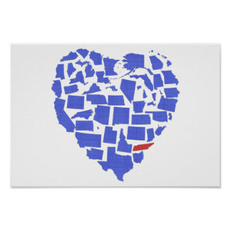American States Heart Mosaic Tennessee Blue Poster