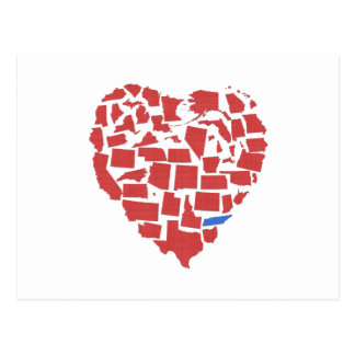 American States Heart Mosaic Tennessee Red Postcard