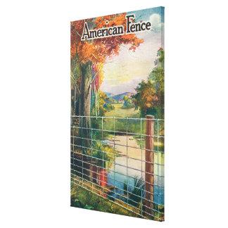 American Steel & Wire Co Fence Roadside Scene Canvas Print