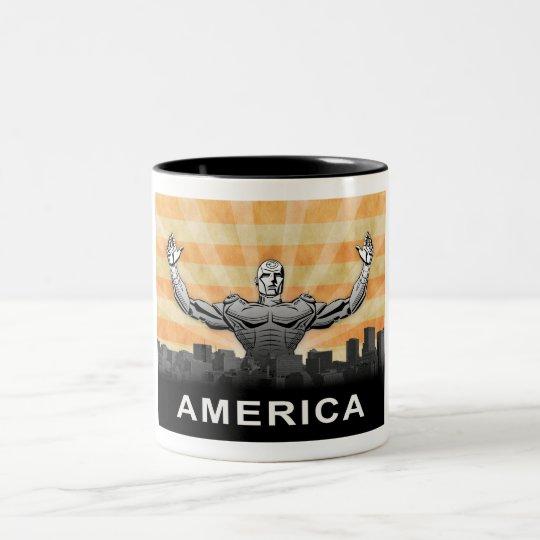 American Super Hero Two-Tone Coffee Mug