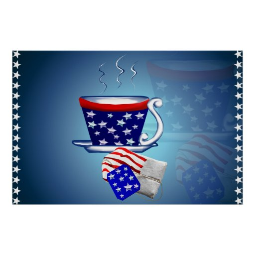 American Tea Cup and Bag Poster