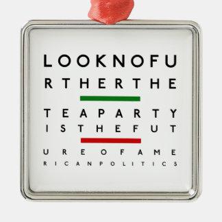American Tea Party Eye Chart Metal Ornament