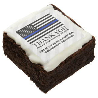 American Thin Blue Line | Custom Thank You Brownie