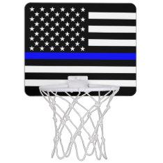 American Thin Blue Line Graphic Decor Mini Basketball Hoop at Zazzle