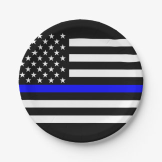 American Thin Blue Line Graphic Decor Paper Plate