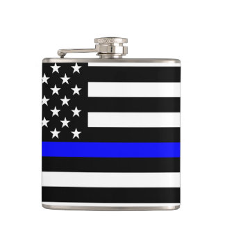 American Thin Blue Line Graphic Flask