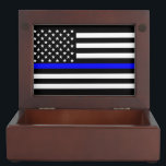 "American Thin Blue Line Graphic Keepsake Box<br><div class=""desc"">A Thin Blue Line symbolic American flag design graphic display. A great gift idea for gatherings, memorial celebrations and remembrance occasions. Here&#39;s a fine line up of custom blue line design styles available as an embroidery on embroidered casual baseball caps for everyone. Use the &quot;Ask this Designer&quot; link to contact...</div>"