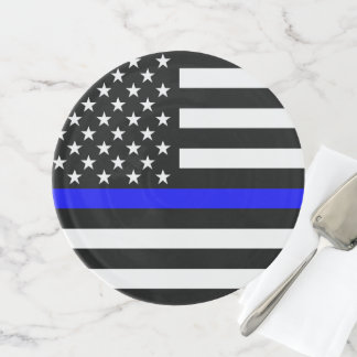 American Thin Blue Line Symbolic on on a Cake Stand