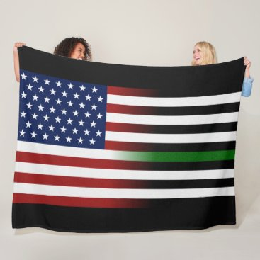 American/Thin Green Line Flag Fleece Blanket