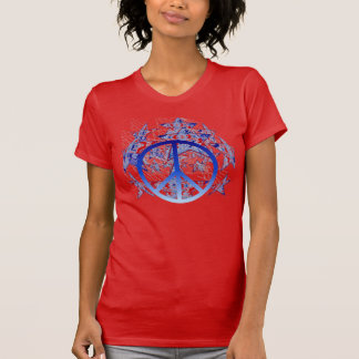 American Tie-Dyed Stars with Peace Symbol Tee Shirt