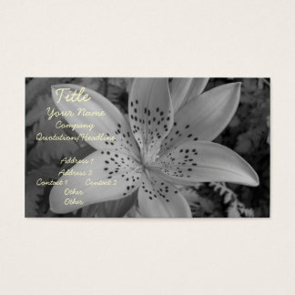 American Tiger Lily (Black & White) Business Card