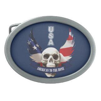 American to the Bone Skull Oval Belt Buckle