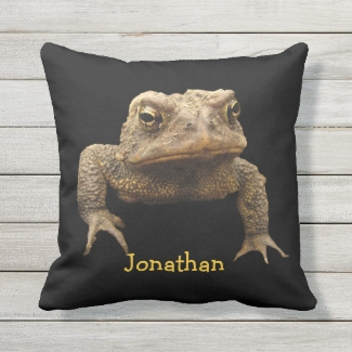 American Toad Animal Brown Black Outdoor Pillow