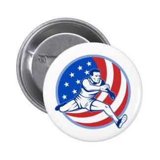 American track and field runner jumping with flag pins