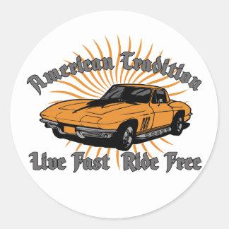 American Tradition Corvette Round Sticker