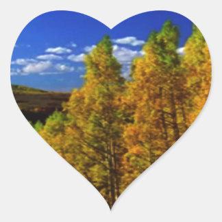 American Trees Fall Season Nature Photography Heart Sticker