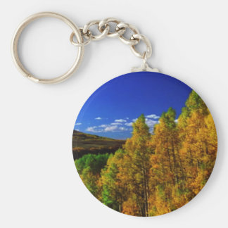 American Trees Fall Season Nature Photography Basic Round Button Keychain
