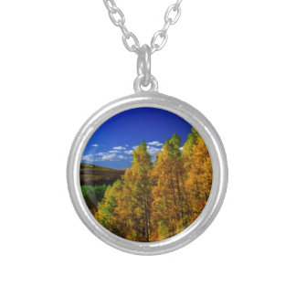 American Trees Fall Season Nature Photography Round Pendant Necklace