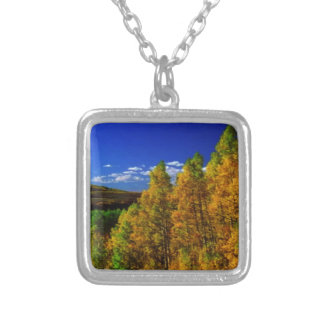 American Trees Fall Season Nature Photography Square Pendant Necklace