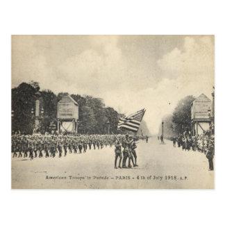 American troops in Paris, 4th July 1918 Postcard