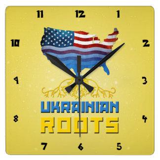 American Ukrainian Roots Wall Clock