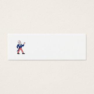 American Uncle Sam Waving Hand Cartoon Mini Business Card