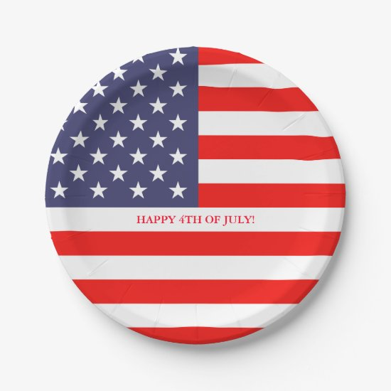 American US flag 4th of July paper party plates