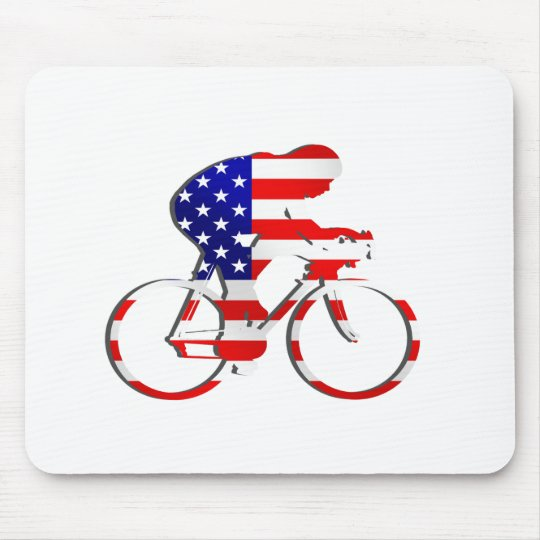 American USA Cycling Cyclists Bicycle Gear Mouse Pad
